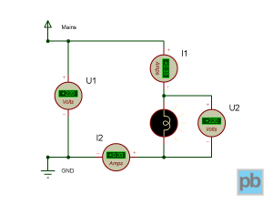 Circuit with a lightbulb