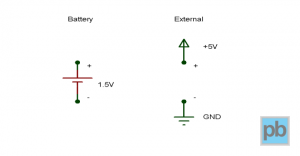 Battery and external power symbols