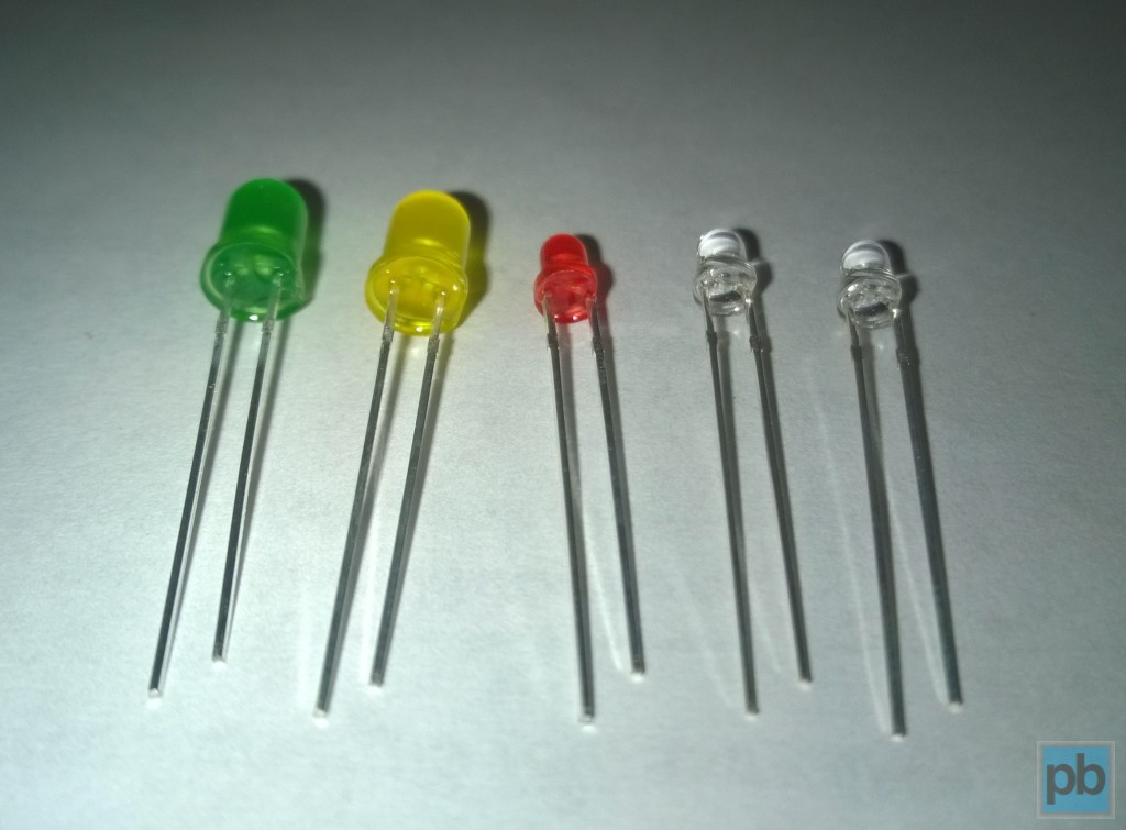 LEDs in different sizes and colors