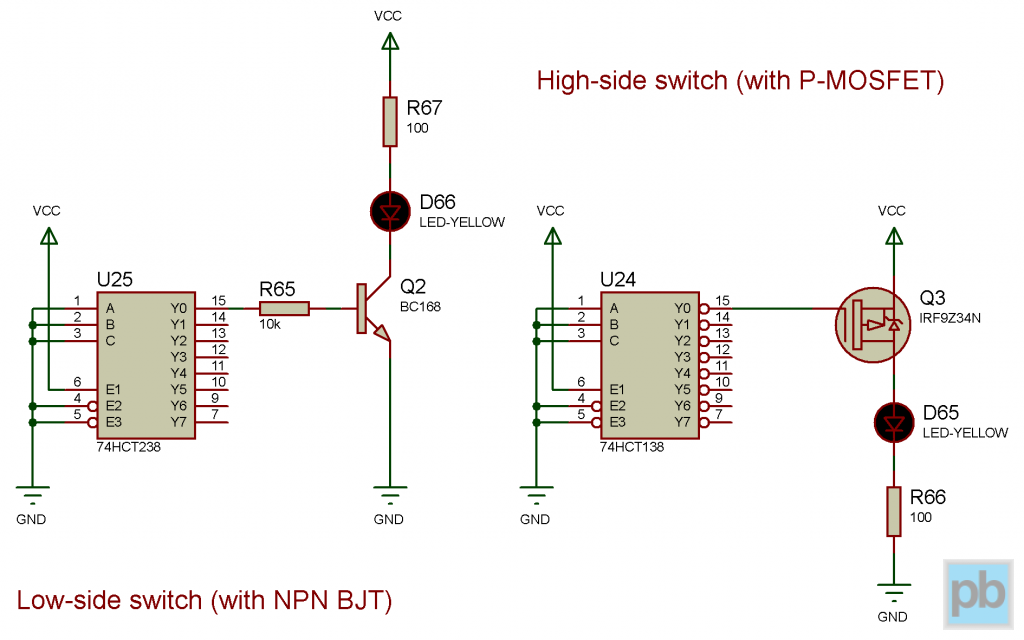 LED controlling schematics