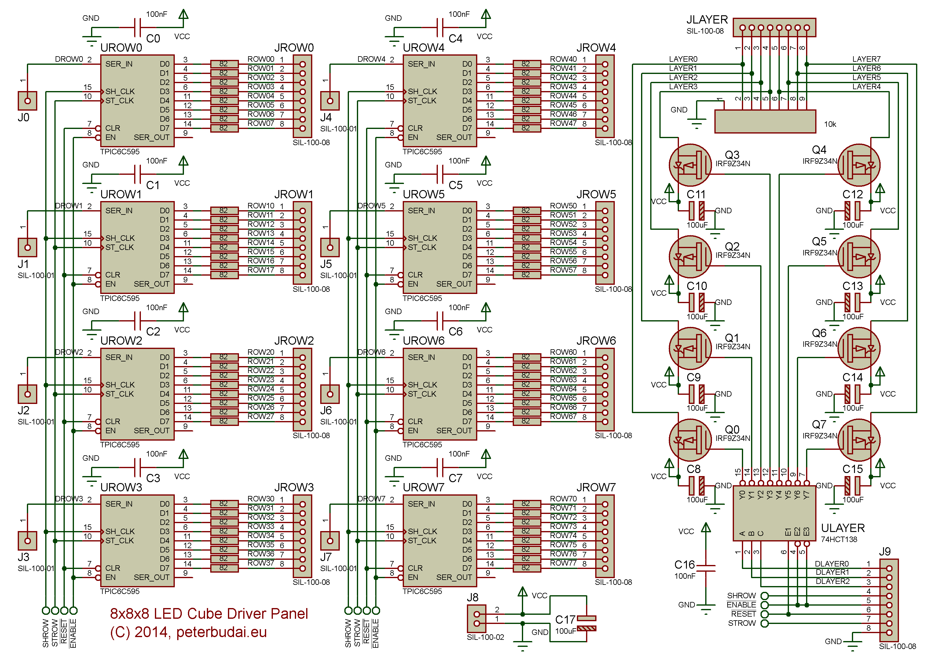 LED cube driver circuit schematic